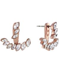Vince Camuto - Rose Goldtone And Glitz Arc Earrings - Lyst