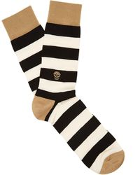 Alexander McQueen | Striped Cotton And Silk-blend Socks | Lyst