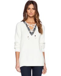Tibi Plaited Half Lace-up Pullover - Lyst