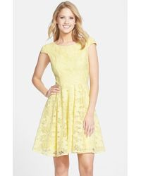 Betsey Johnson Lace Fit & Flare Dress - Lyst