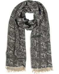 Vivienne Westwood | Black Jacquard Logo Viscose And Wool Stole | Lyst