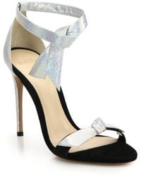 Alexandre Birman Suede & Metallic Watersnake Sandals - Lyst