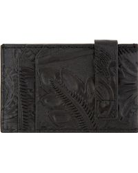 3.1 Phillip Lim - Black Floral Embossed Leather Cardholder - Lyst