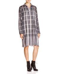 DKNY Plaid Fringe Hem Shirt Dress - Grey