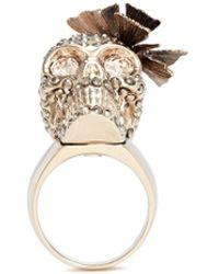 Alexander McQueen | Butterfly Skull Swarovski Crystal Ring | Lyst