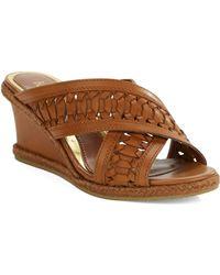 Lauren by Ralph Lauren Giana Leather Wedge Sandals - Lyst