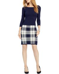Pink Pony Lauren Plaid Skirt Sweater Dress - Blue