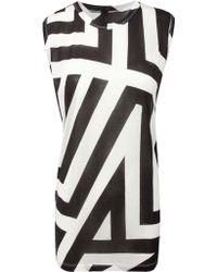 Gareth Pugh Oversize Stripe Print Top Blackwhite - Lyst