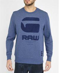 G-Star RAW | Mottled-blue Logo Sweatshirt | Lyst