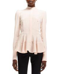 Alexander McQueen Light-cady Mandarin-collar Silk Shirt - Lyst