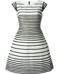 Halston Heritage Black Striped Dress - Lyst
