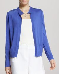 Halston Heritage Cardigan - Open Front Chiffon Detail - Lyst