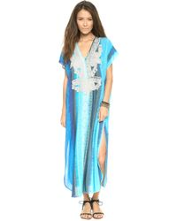 Twelfth Street Cynthia Vincent Embroidered Caftan Tie Dye Stripes - Blue