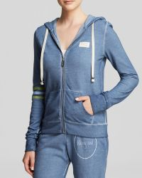 Peace Love World Hoodie - Washed Happy Soul Zip - Blue