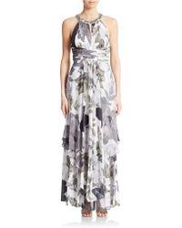 Eliza J Embellished Halter Gown - Lyst