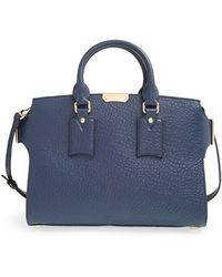 Burberry 'Medium Gainsborough' Signature Grain Leather Tote blue - Lyst