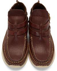 Visvim Burgundy Leather Mesa Moc_folk Moccasins - Lyst