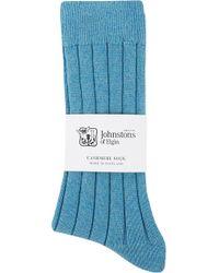 Johnstons - Ribbed Cashmere Blend Socks - Lyst