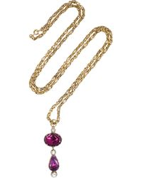 Olivia Collings - 1860S 14-Karat Gold, Amethyst And Crystal Necklace - Lyst