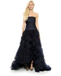 Monique Lhuillier Rosette Embroidered Gown  Midnight - Lyst