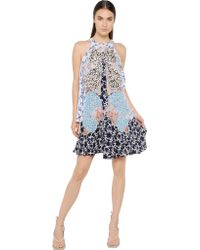Stella McCartney Embroidered Silk Crepe De Chine Dress . - Lyst