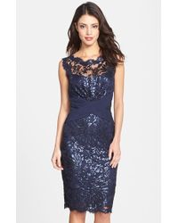 Tadashi Shoji Fitted Sequin-Lace Dress - Lyst