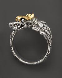 John Hardy Naga 18k Yellow Gold and Sterling Silver Dragon Ring - Lyst