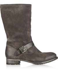 NDC Biker Mid Shearling-Lined Suede Boots - Lyst