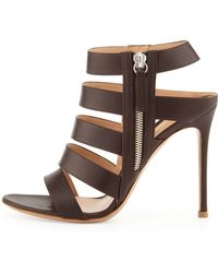 Gianvito Rossi Ladder-strap Leather Open-toe Bootie - Lyst