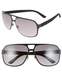 Gucci 62Mm Aviator Sunglasses - Semi Matte Black - Lyst