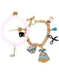 Betsey Johnson Princess Charming Fashion Charm Bracelet Set - Multicolour