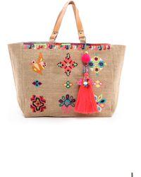 Star Mela Zelma Embellished Bag Multi - Natural