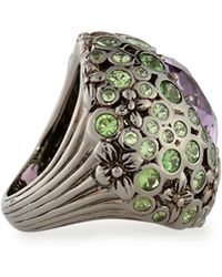 Stephen Dweck - Floral-Carved Ring With Amethyst and Tsavorite - Lyst