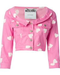 Moschino Heart Print Denim Jacket - Lyst