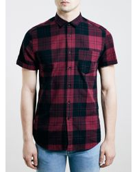 LAC - Burgundy Tartan Short Sleeve Casual Shirt - Lyst