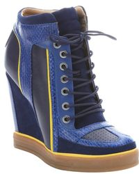 L.A.M.B. Navy Leather And Suede 'Summer' Lace-Up Wedge Sneakers - Lyst