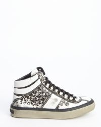 Jimmy Choo White Patent Leather Star Studded Belgravi Hightop Sneakers - Lyst