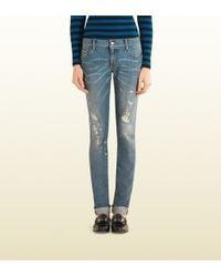 Gucci Light Blue Ripped Denim Leggings - Lyst