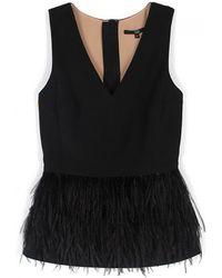 Tibi Cera Tuxedo Feather Peplum Top - Lyst