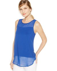 Vince Camuto Sleeveless Mixed-Media Top - Lyst