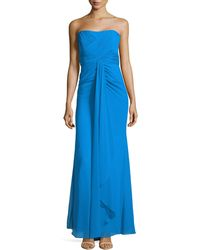 Badgley Mischka Strapless Pleated Waterfall Gown - Lyst