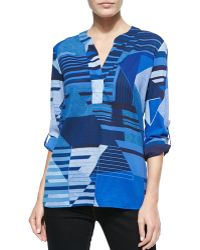 Diane von Furstenberg Esti Long-Sleeve Diamond Stripe Blouse - Lyst