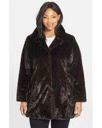 Ellen Tracy Faux Fur A-Line Coat - Lyst