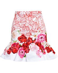 Isolda Frilled Floral Mini Skirt - Lyst