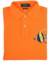 Ralph Lauren Blue Label Orange Embroidered Tropical Fish Polo Shirt - Lyst