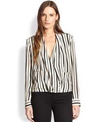 By Malene Birger Stripe A Pose Silk Blouse - Lyst
