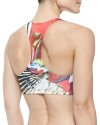 Clover Canyon Floral-Print Racerback Swim Top - Red
