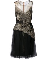 Notte By Marchesa Metallic Lace Tulle Dress - Lyst