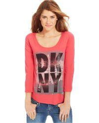 DKNY Three-quarter-sleeve Logo-print Tee - Lyst