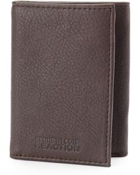 Kenneth Cole Reaction Brown Tri-fold Wallet - Lyst